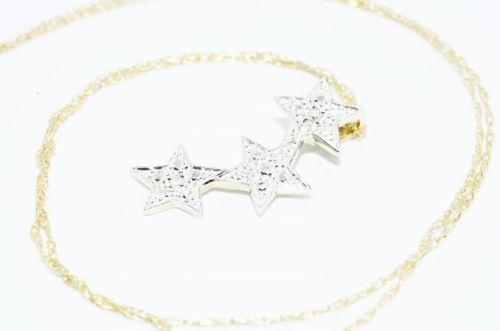 תליון ושרשרת זהב צהוב ולבן 10 קרט בשיבוץ 2 יהלומים עיצוב 3 פנטגרם