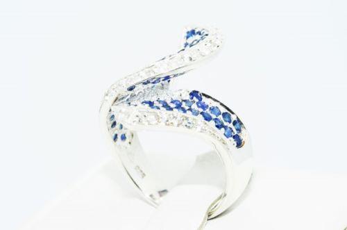 טבעת יוקרה כסף בשיבוץ ספיר כחול מידה: 7.5
