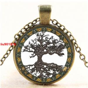 עץ החיים הקבלי תליון ושרשרת ברונזה גווני חום לבן