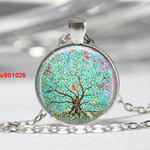 עץ החיים הקבלי תליון ושרשרת מוכסף גווני ירוק פריחה