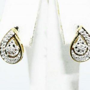 עגילי כסף 925 בציפוי זהב בשיבוץ יהלומים לבנים 02. קרט עיצוב טיפה