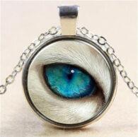 תליון ושרשרת ויקה מוכסף סמל עין הזאב (הגנה מעין הרע)