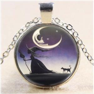 תליון ושרשרת ויקה מוכסף מכשפה לאור ירח