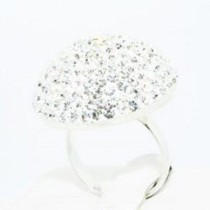 טבעת כסף 925 בשיבוץ אבני קריסטל מלוטש 8 קרט מידה: 6.5