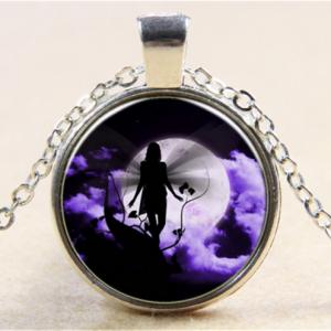 תליון ושרשרת ויקה מוכסף דמות פיה לאור ירח בגווני סגול שחור