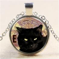 תליון ושרשרת ויקה מוכסף חתול שחור