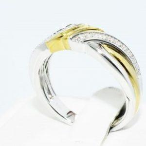 טבעת כסף 925 וציפוי זהב בשיבוץ יהלומים לבנים 06. קרט מידה: 10.25