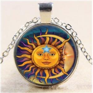 תליון ושרשרת מוכסף סמל השמש והירח