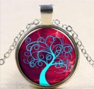 קבלה: תליון ושרשרת מוכסף סמל עץ החיים הקבלי גווני כחול אדום