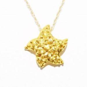 שרשרת ותליון זהב צהוב בשיבוץ אבני ספיר צהוב 35. קרט עיצוב כוכב ים