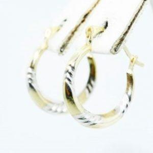 """עגילי זהב צהוב ולבן עיצוב חישוק קוטר 1.5 ס""""מ"""