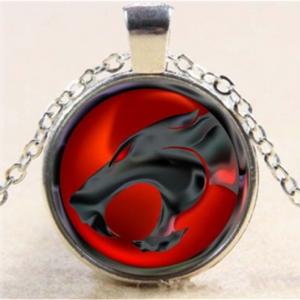 תליון ושרשרת ויקה מוכסף סמל חתול בשחור אדום