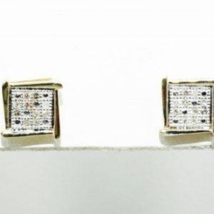 עגילים זהב צהוב 10 קרט בשיבוץ יהלומים לבנים 10. קרט עיצוב מרובע