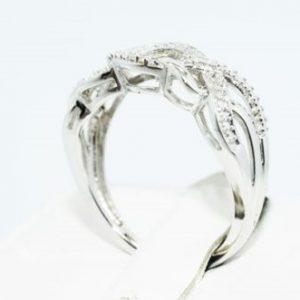 טבעת יוקרה כסף 925 בשיבוץ יהלומים לבנים 02. קרט מידה: 7.25