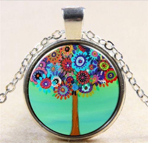 קבלה: תליון ושרשרת מוכסף סמל עץ החיים הקבלי גווני פריחה