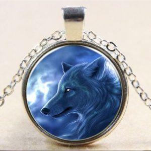 תליון ושרשרת מוכסף תליון ויקה זאב גוון כחול