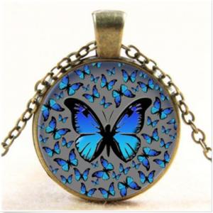 תליון ושרשרת ויקה מוכסף פרפרים (שינוי וטרנספורמציה) גוון כחול