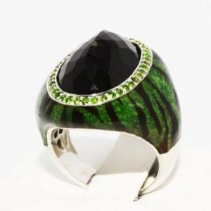 טבעת יוקרה כסף 925 בשיבוץ אוניקס ודיופסיד ציפוי אמייל ירוק שחור מידה: 7.25
