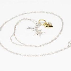 שרשרת ותליון זהב לבן וצהוב 10 קרט בשיבוץ כוכב נופל זהב לבן ולב זהב צהוב בשיבוץ יהלומים