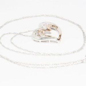 שרשרת זהב לבן ותליון לב זהב לבן וצהוב 10 קרט בשיבוץ יהלומים 45 קרט ניקיון: l1