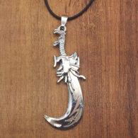 תליון וחישוק גומי סמל חרב מעוגלת מוכסף