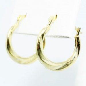 עגילי זהב צהוב 14 קרט עיצוב חישוק