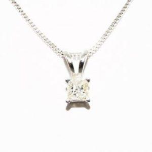 תליון ושרשרת זהב לבן בשיבוץ יהלום 08. קרט