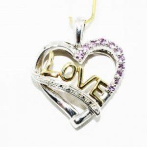 תליון זהב צהוב 14 קרט וכסף 925 בשיבוץ יהלומים לבנים וטופז ורוד עיצוב: Love