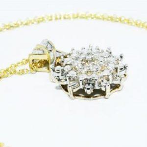 תליון ושרשרת כסף 925 בציפוי זהב בשיבוץ יהלומים לבנים 13. קרט