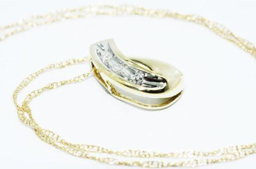שרשרת ותליון זהב צהוב 10 קרט בשיבוץ 3 יהלומים לבנים 03. קרט