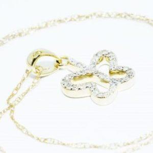 שרשרת ותליון זהב צהוב 10 קרט בשיבוץ יהלומים לבנים 29. קרט עיצוב פרפר