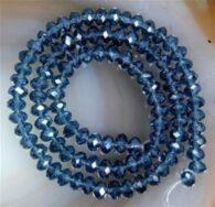 """תכשיטנות: שרשרת חרוזי קריסטל כחול מידה: 4*6 מ""""מ"""