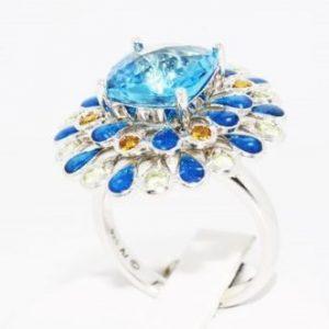 טבעת יוקרה כסף 925 בשיבוץ אבני טופז וסיטרין 5.80 קרט קישוטי אמייל כחול מידה 7
