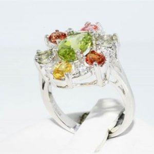 טבעת יוקרה כסף 925 בשיבוץ ספיר, פרידות וטופז לבן מידה: 5
