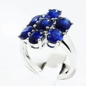 טבעת יוקרה כסף 925 בשיבוץ ספיר כחול 3.50 קרט מידה: 8.25