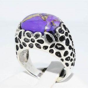 טבעת כסף 925 יוקרה משובצת אגט סגול מעורב עם פיריט מידה: 8.5