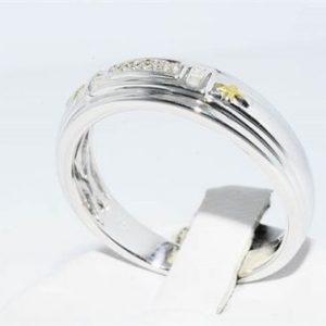 טבעת כסף 925 וציפוי זהב בשיבוץ 12 יהלומים לבנים 0.8 קרט מידה: 10
