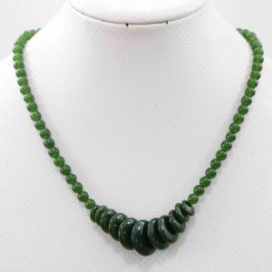 שרשרת מאבני ג'ייד ירוק כהה עיצוב מיוחד