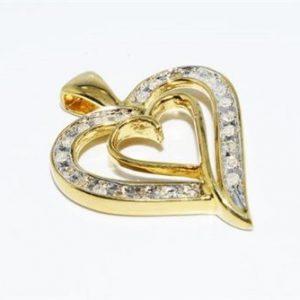 תליון כסף 925 ציפוי זהב 14 קרט בשיבוץ 24 יהלומים לבנים 20. קרט עיצוב לב