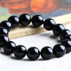 """צמיד אוניקס שחור בקוטר: 10 מ""""מ"""