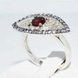 טבעת יוקרה כסף 925 עיצוב עין בשיבוץ גרנט 32 טנזנייט 34 טופז לבן מידה: 7.5