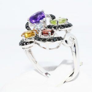 טבעת כסף 925 בשיבוץ גרנט, סיטרין, פרידות, אקוומרין ואמטיסט + 39 ספינל מידה: 8.25