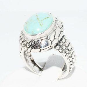 טבעת יוקרה כסף 925 בשיבוץ טורקיז 5.60 קרט במידה: 7
