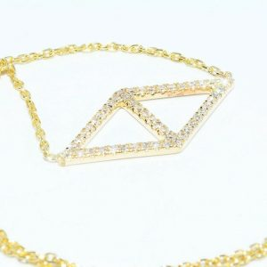 תליון ושרשרת זהב צהוב 14 קרט בשיבוץ 48 יהלומים לבנים 17. קרט ניקיון יהלומים: VS1