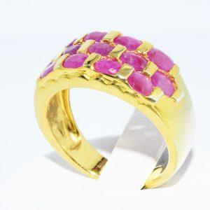 טבעת כסף 925 ציפוי זהב בשיבוץ 13 רובי 2.01 קרט במידה: 8.25