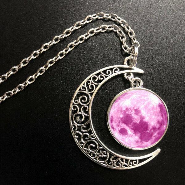 תליון ושרשרת ויקה מוכסף ירח מלא והשפעותיו גווני ורוד בעיטור ירח