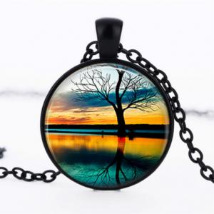 תליון ושרשרת מושחר עץ החיים הקבלי בגווני כחול כתום