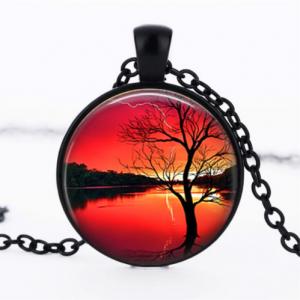 תליון ושרשרת מושחר עץ החיים הקבלי בגווני אדום כתום