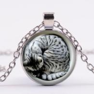 תליון ושרשרת מוכסף חתול מנומר (חברה הטוב ביותר של כל מכשפה)