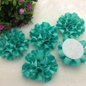 3 פרחים לקישוט אריזה בגוון ירוק טורקיז